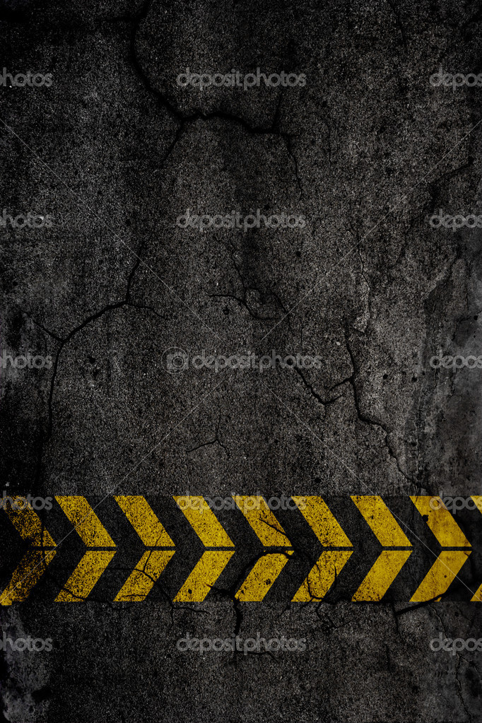 Asphalt background texture with construction signs  Stock Photo #4937830