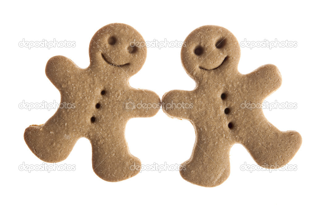 Homemade Gingerbread man cookie isolated on white background — Stock Photo #4938212