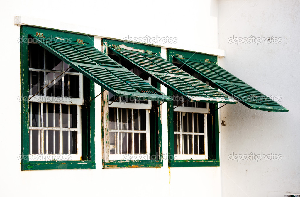 Three green windows — Stock Photo #4938912