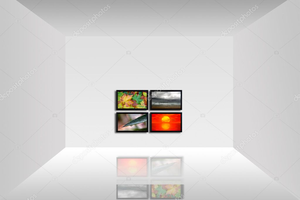 Empty room with a tv panel showing the four seasons   Stock Photo #4939291