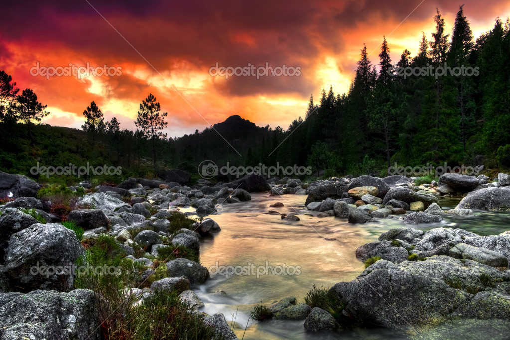 Beautiful view of a mountain river at sunset  Stock Photo #4940220
