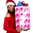 Stock Photo: Santa Girl with gifts