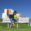 Outdoor working with a laptop — Stock Photo #5064030