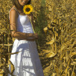 Sunflower woman — Stock Photo #5064205