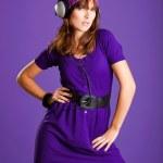 Beautiful woman listening music — Stock Photo #5065793