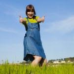 Happy woman on nature — Stock Photo