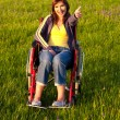 Handicapped woman on wheelchair — Stock Photo #5066641