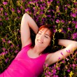 Lying on flowers — Stock Photo #5066661