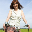 Girl with a bicycle - Stock Photo