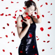 Rose petals woman - Stock Photo