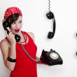 Girl with a vintage phone — Stock Photo #5069857
