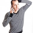 Talking on cellphone - Foto Stock