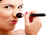 Applying make-up — Stock Photo