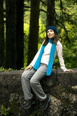 Woman in nature thinking — Stock Photo