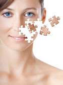 Puzzle Face — Stock Photo