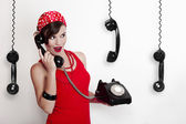 Girl with a vintage phone — Stock Photo