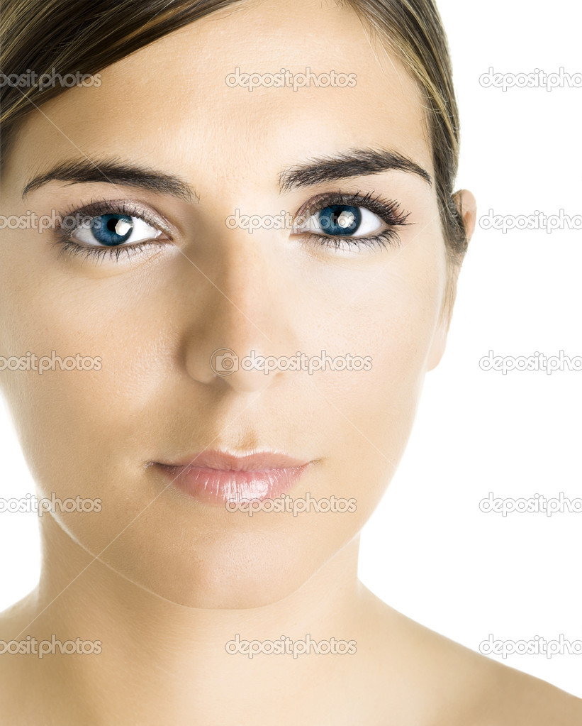 Face of a young beautiful woman with a great blue eyes. — Stock Photo #5063389