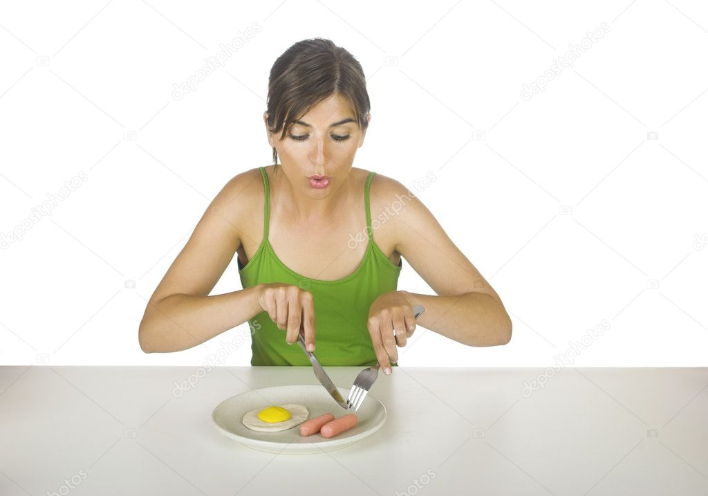Young and beautiful woman eating plastic food (concept about realy plastic food) — Stock Photo #5064316