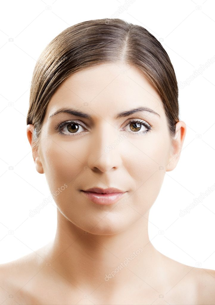 Close-up portrait of a woman with a symmetrical face — Stock Photo #5064953