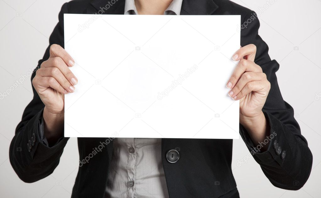 Woman Hand Holding Paper Woman Holding a Blank Paper