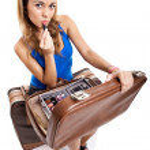 Traveller woman applying makeup — Stock Photo #5072013