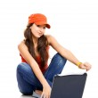Teenager working with a laptop — Stock Photo