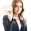 Beautiful woman holding a business card — Stock Photo #5073848