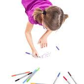 Girl making drawings — Stock Photo