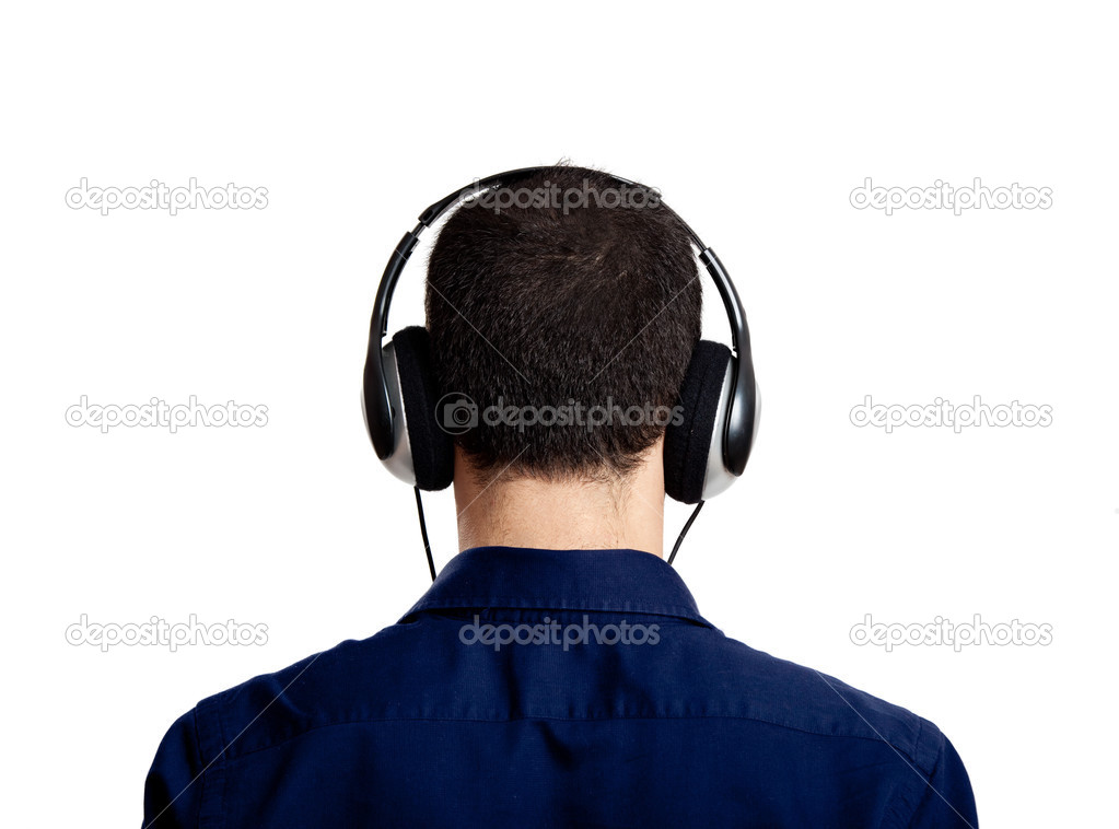 Back view of a young man listening music with headphones, isolated on white — Stock Photo #5070158