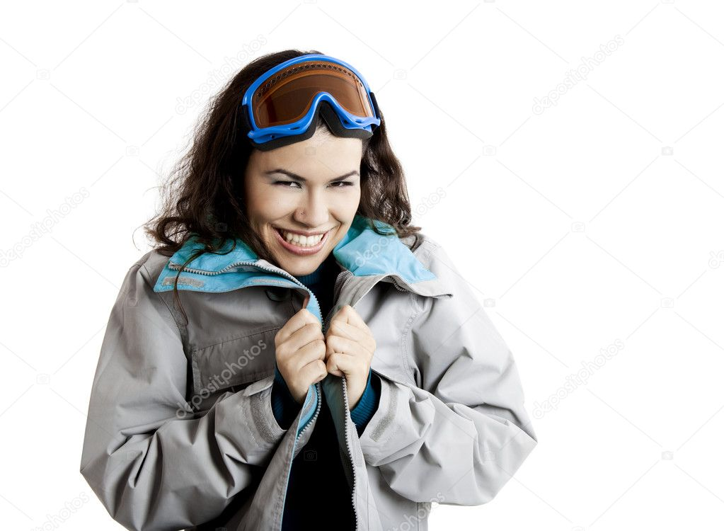 Portrait of a beautiful young girl wearing a winter coat and snow glasses — Stock Photo #5071148