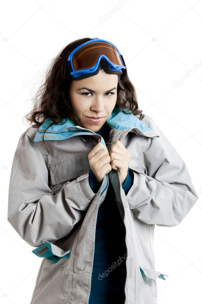 Portrait of a beautiful young girl wearing a winter coat and snow glasses — Stock Photo #5071151