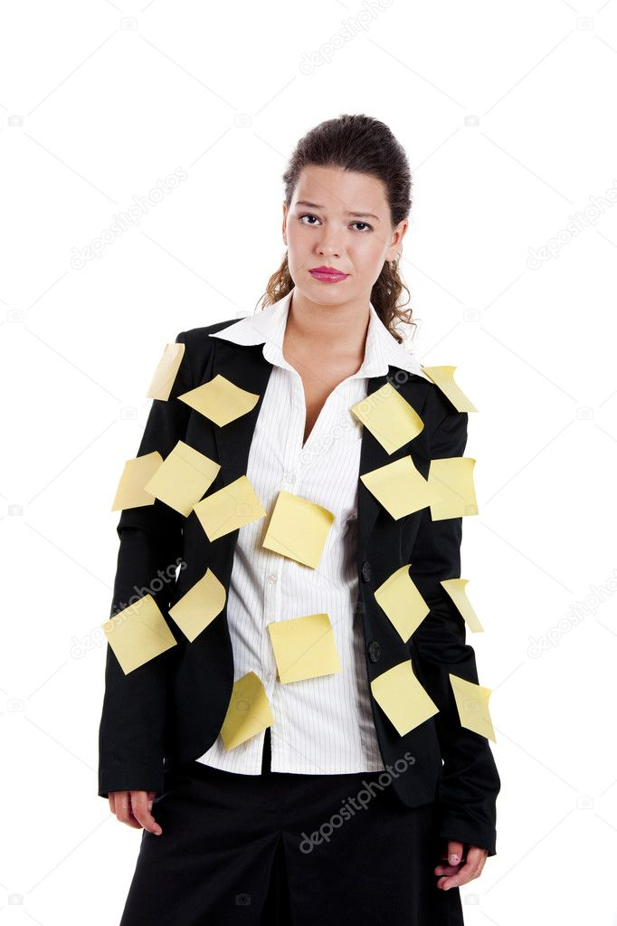 Businesswoman with yellow pos-its, isolated on white  Stock Photo #5071547