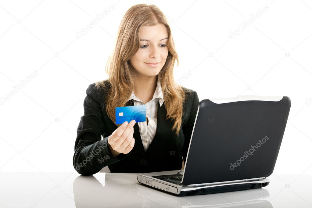 Portrait of a beautiful woman shopping online using a credit card — Stock Photo #5073900