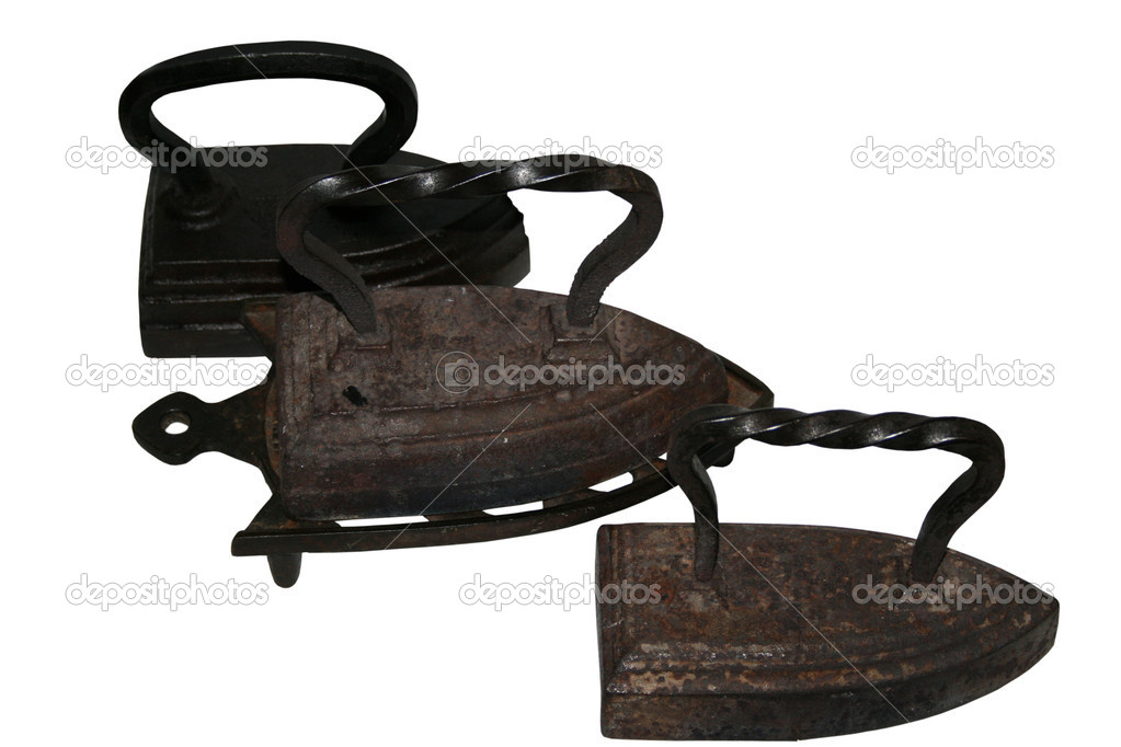 Three old iron, isolated, white background  Stock Photo #2890494