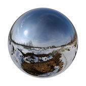 Mirror ball winter outdoor — Stock Photo
