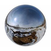 Mirror ball winter outdoor — Stock Photo