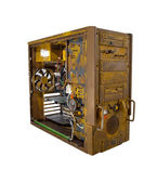 Rusted computer case open — Stock Photo