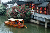 Boat at Qinhuai river, Nanjing — Stock fotografie