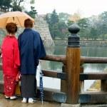 Japanese couple with Kimono — Stock Photo