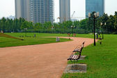 Walk way in city park — Stock Photo
