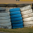 Roadside stacked tyres — Stock Photo