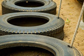 Line of tyres — Stock Photo