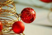 Red christmas bulbs — Stock Photo