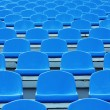 Empty blue plastic stadium seats — Stock Photo #3748200
