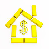 Gold bullion in the form of home with a — Stock Photo