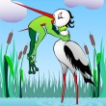 Frog and heron — Stock Photo