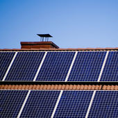 Detail of a photovoltaic system on a roof. — Stock Photo