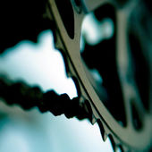 Detail of a MTB´s chain and gear wheels. — Stock Photo