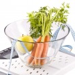 Carrots, apple and measuring objects - Stock Photo