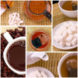 Collage of tea anf coffee — Stockfoto